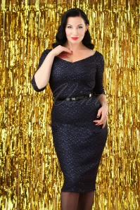 Vintage Chic Navy Lace Glitter Dress 100 31 28016 20181009 0003W