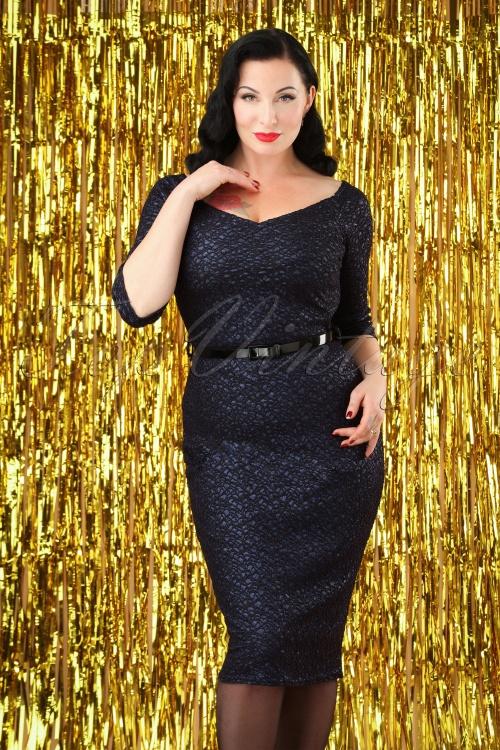 50s Felice Glitter Pencil Dress in Navy