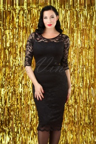 Vintage Chic Floral Lace Pencil Dress Black 100 10 26696 20180926 0007W