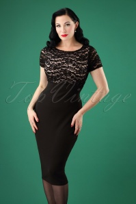 50s Kim Lace Pencil Dress in Black and Nude