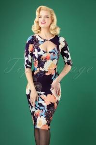 50s Fabienne Floral Pencil Dress in Blue