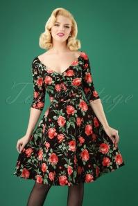 50s Peony Swing Dress in Black