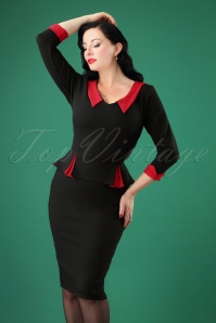 50s Gladys Peplum Pencil Dress in Black and Red