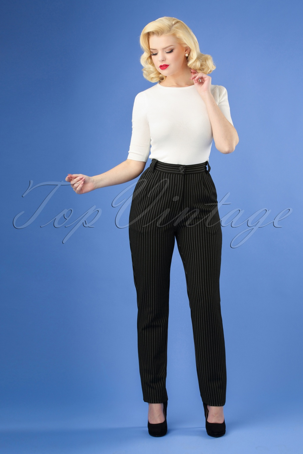 1950s Pants History for Women 50s High Waist Classic Pinstripe Pants in Black £86.86 AT vintagedancer.com