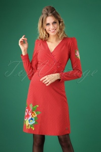 Tante Betsy 60s Auntie Little Dot Dress in Red