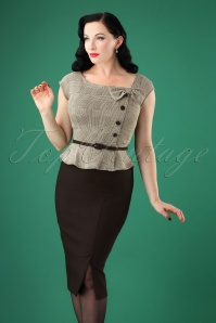 Stop Staring! 40s Rivka Pencil Dress in Grey