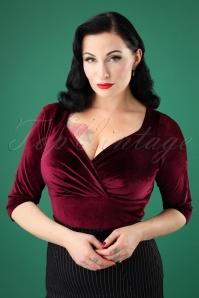 Steady Clothing 50s Diva Long Sleeve Top in Velvet Wine