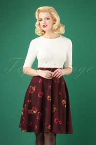 50s Flora Thrills Skirt in Burgundy