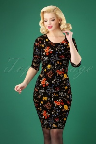 60s Patti Floral Pencil Dress in Black
