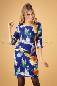 60s Zina Birds Pencil Dress in Blue