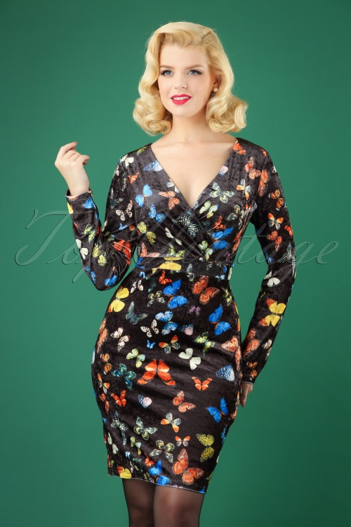 Smashed Lemon Black Multicolor Butterfly Velvet Dress 100 14 26124 20181012 0002W