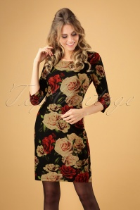 Smashed Lemon Black Foral Roses Dress 100 14 26126 20181012 0002W