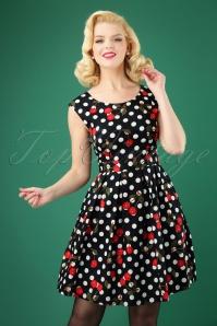 50s Valerie Polkadot Cherry Swing Dress in Black