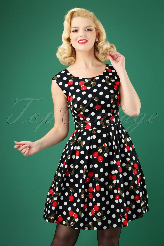 Vintage 50s Dresses: Best 1950s Dress Styles 50s Valerie Polkadot Cherry Swing Dress in Black £71.22 AT vintagedancer.com