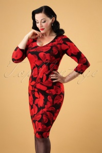 50s Fabiola Floral Dress in Red and Black