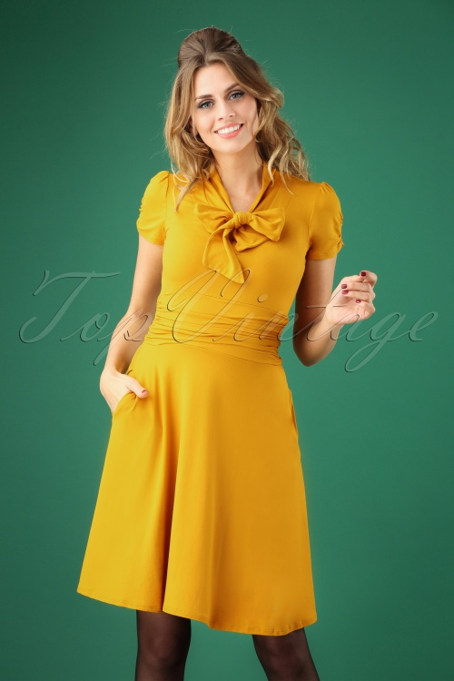 6403ef940cd7e Retrolicious Mustard Bow Swing Dress 102 80 27532 20180927 0006W