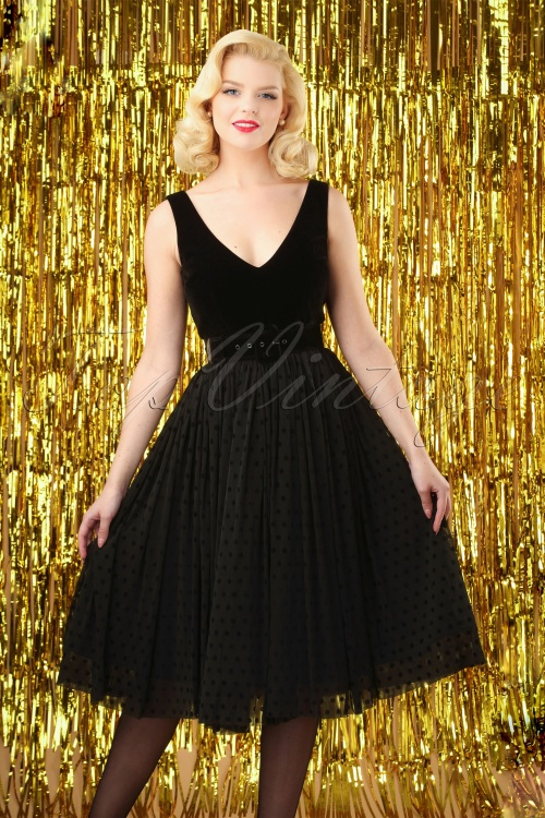 Collectif Clothing Lotte Swing Dress in Black 24828 20180629 0010W