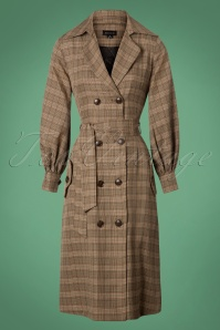 Collectif Clothing 70s Harlow Tweed Coat in Brown