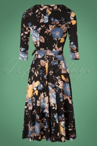 Unique Vintage Black and Blue Roses wrapdress 102 14 27680 20181123 208W