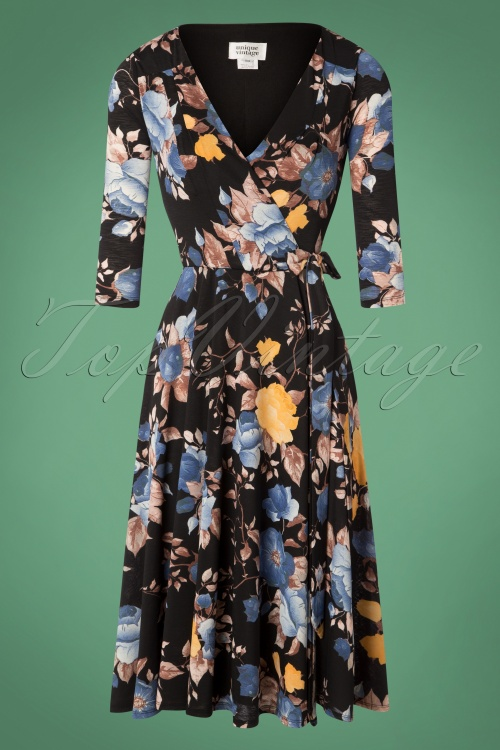 Unique Vintage Black and Blue Roses wrapdress 102 14 27680 20181123 198W