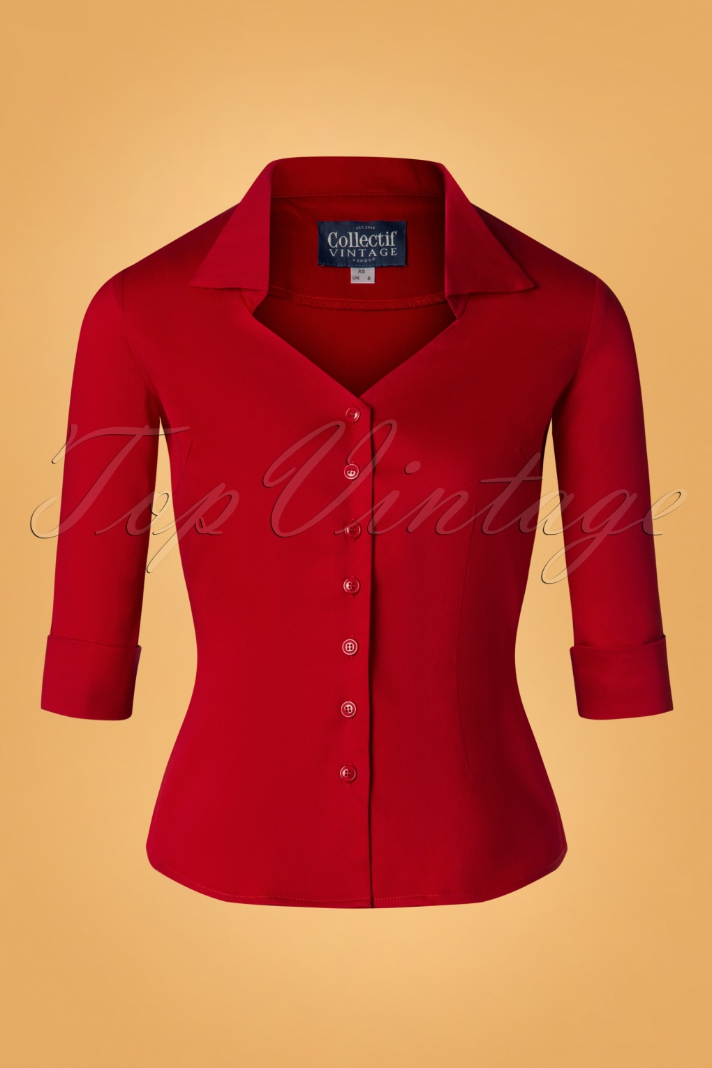 Vintage & Retro Shirts, Halter Tops, Blouses 50s Mona 34 Sleeve Blouse in Red £34.17 AT vintagedancer.com