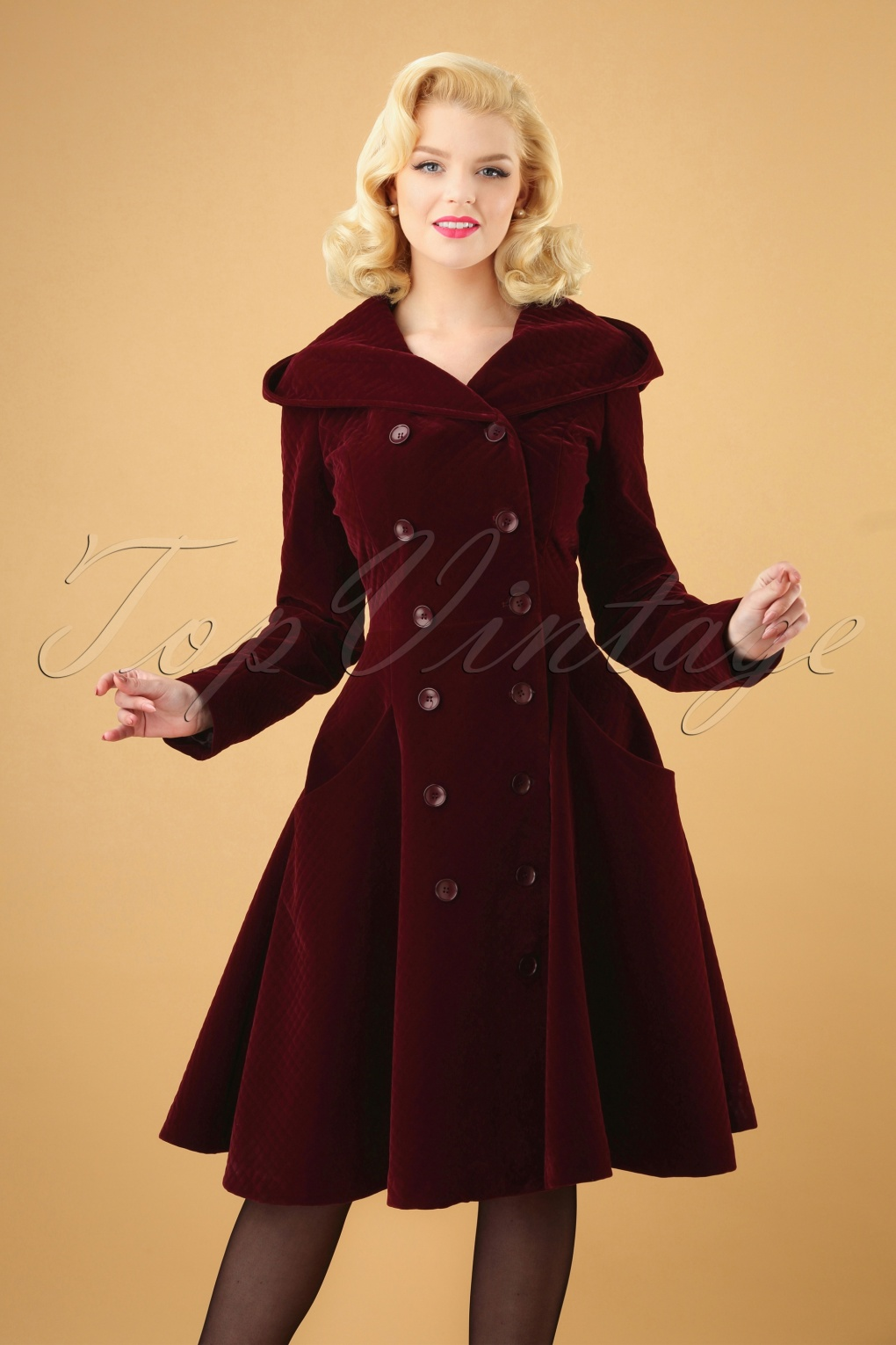 Vintage Coats & Jackets | Retro Coats and Jackets 50s Heather Hooded Quilted Velvet Coat in Wine £166.08 AT vintagedancer.com