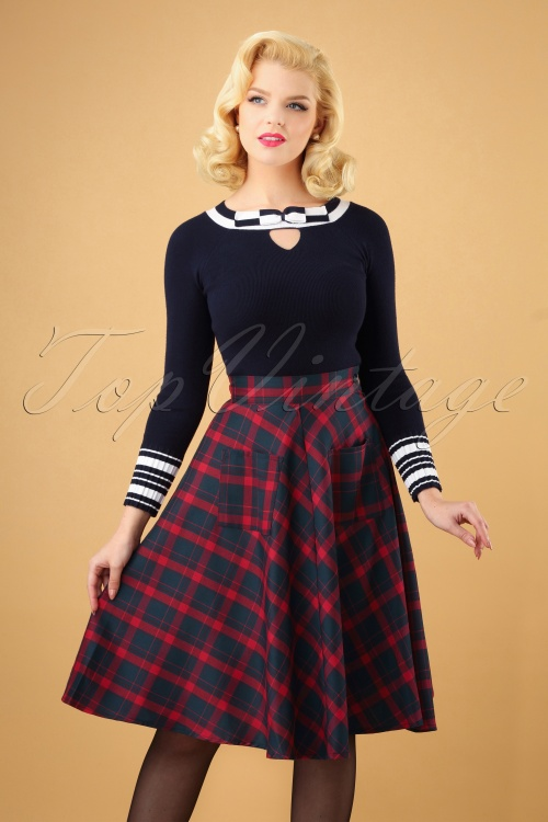 Dancing Days by Banned Apple of my Eye Swing Skirt in Red and Blue 122 39 19707 20160922 0006W