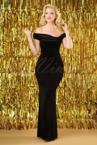50s Pamela Glitter Velvet Maxi Dress in Black