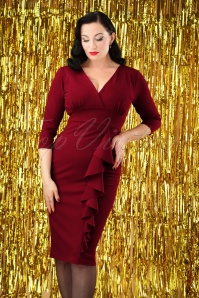 50s Vickie Frill Pencil Dress in Burgundy