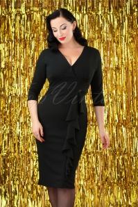50s Vickie Frill Pencil Dress in Black