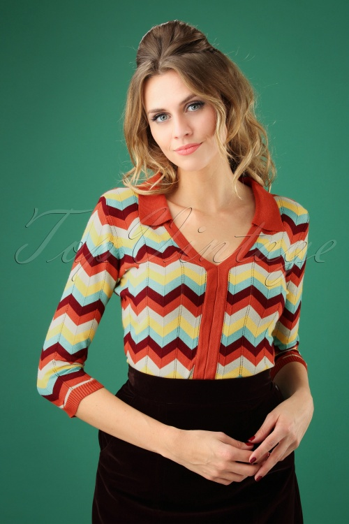 Dancing Days by Banned Zoe Zig Zag Collar Top  26220 20180709 0009W