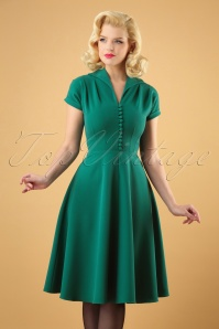 40s Pretty Hostess Dress in Green