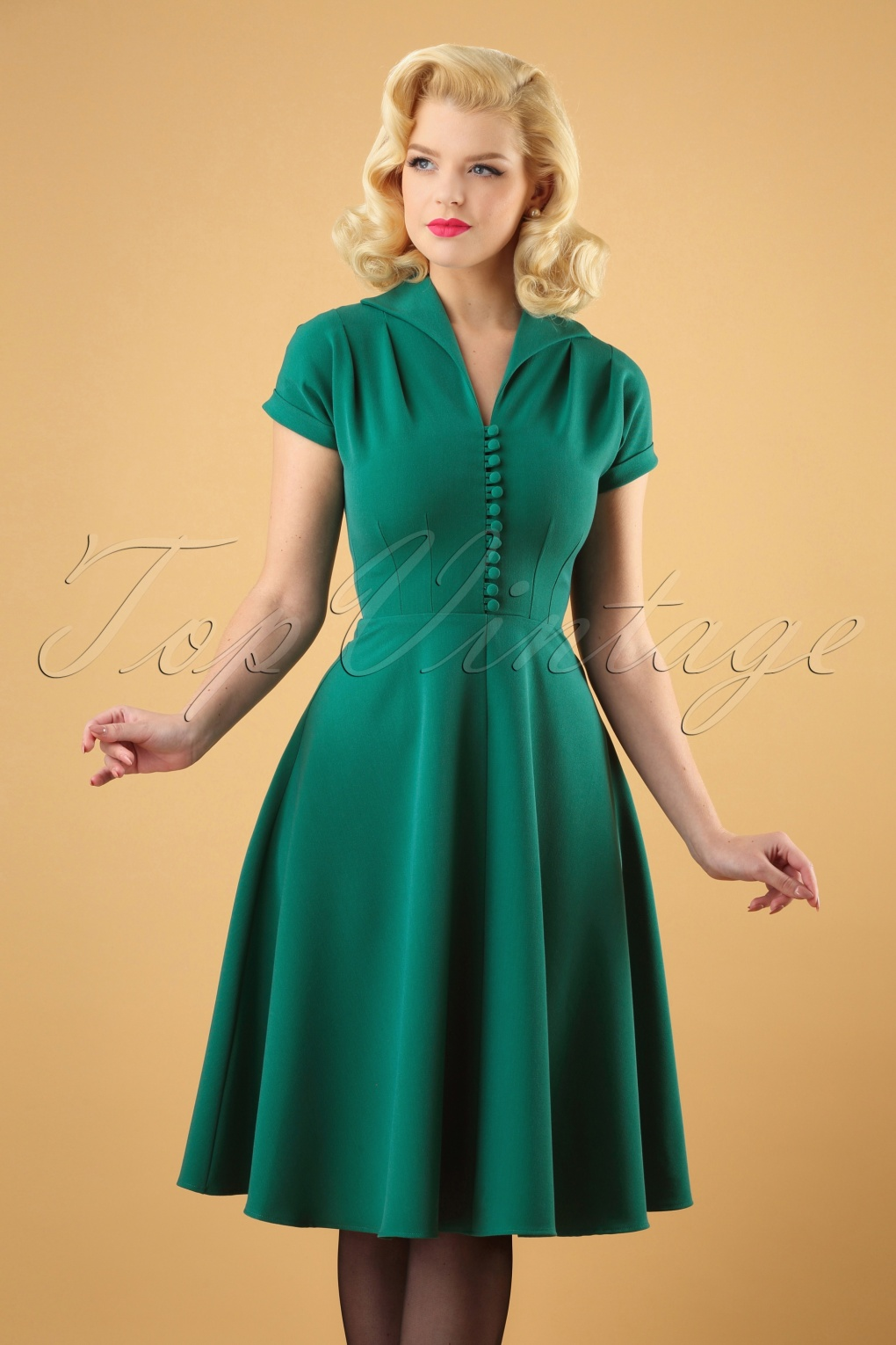 500 Vintage Style Dresses for Sale 40s Pretty Hostess Dress in Green £66.65 AT vintagedancer.com