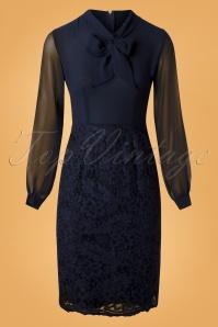 Paper Dolls Navy Lace Long Sleeve Dress 100 31 26075 20180920 0003W