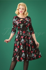 Hearts and Roses Black and Red Floral Swing Dress 102 14 26945 20181001 0003W