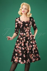 Hearts and Roses Black Floral Swing Dress 102 14 26949 20181001 0004W