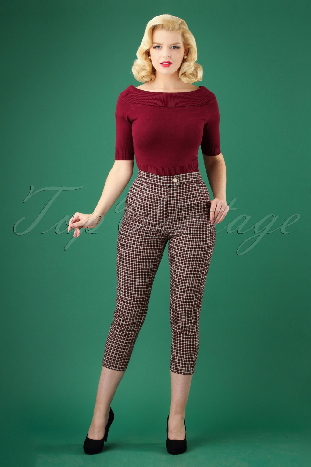 Vintage High Waisted Trousers, Sailor Pants, Jeans 50s Ken Check Trousers in Cream and Red £44.06 AT vintagedancer.com