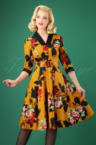 50s Autumn Floral Swing Dress in Mustard