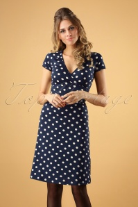 50s Polkadot Cross Dress in Inkblue Partypolka