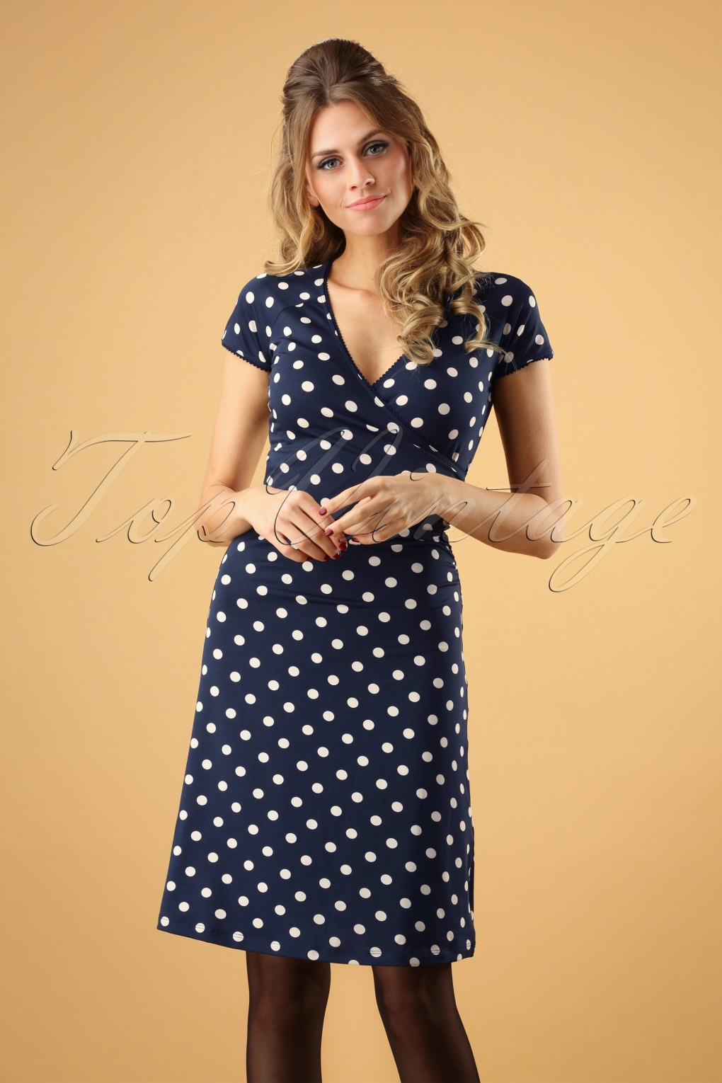 1950s Dresses, 50s Dresses | 1950s Style Dresses 50s Polkadot Cross Dress in Inkblue Partypolka £83.79 AT vintagedancer.com