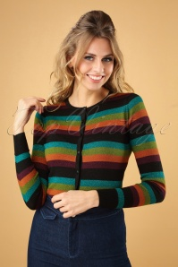 King Louie Roundneck Cardigan Glitter Striped Top 25368 20180724 0002W