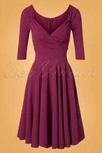 50s Diva Full Swing Dress in Magenta