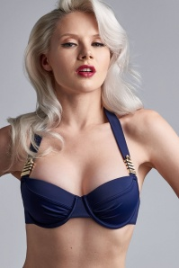50s Cruise Collection Balcony Bikini Top in Royal Navy