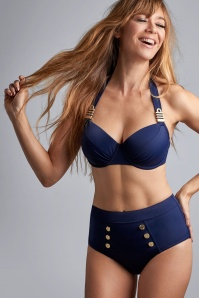 Marlies Dekkers Cruise Collection High Waist Bikini Briefs Années 50 en Bleu Marine Royale
