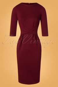 Tatyana 28179 Vickie Retro Pencil Dress in Wine Red 20181128 004W