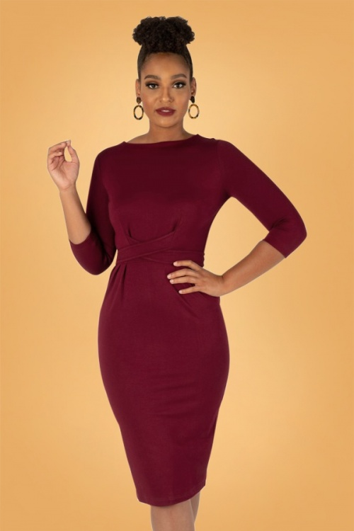 Tatyana 28179 Vickie Retro Pencil Dress in Wine Red 20181128 1