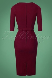 Collectif Clothing Meadow Pencil Dress in Wine Red 24894 20180627 0010W