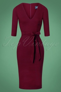 Collectif Clothing Meadow Pencil Dress Années 50 en Bordeaux
