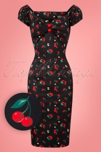 Collectif Clothing Dolores Cherries & Blossom Pencil Dress 25638 20180702 0002W!