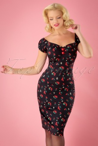 50s Dolores Cherries and Blossom Pencil Dress in Black